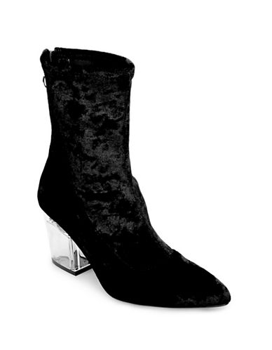 Design Lab Lord & Taylor Stretch Velvet Booties-BLACK-9