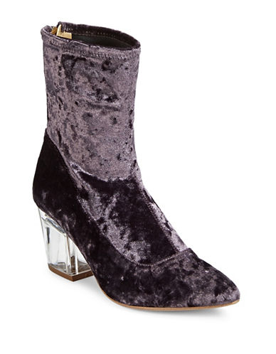 Design Lab Lord & Taylor Stretch Velvet Booties-PURPLE-9.5