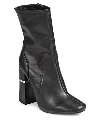 Design Lab Lord & Taylor Stretch Velvet Booties-BLACK-7
