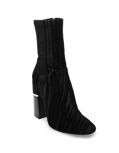 Design Lab Lord & Taylor Stretch Velvet Booties-BLACK VELVET-9.5