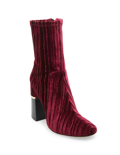 Design Lab Lord & Taylor Stretch Velvet Booties-BURGUNDY-6