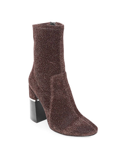 Design Lab Lord & Taylor Stretch Velvet Booties-COPPER-7.5