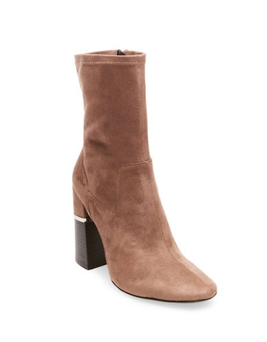 Design Lab Lord & Taylor Stretch Velvet Booties-TAN SUEDE-6.5