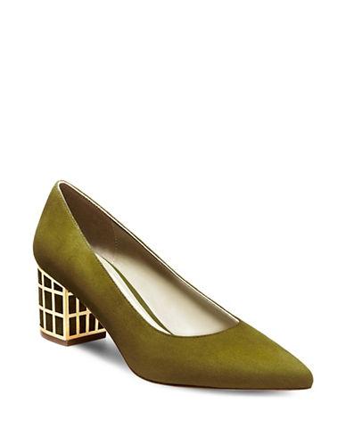 B Brian Atwood Karina Block Heel Pumps-OLIVE-5.5
