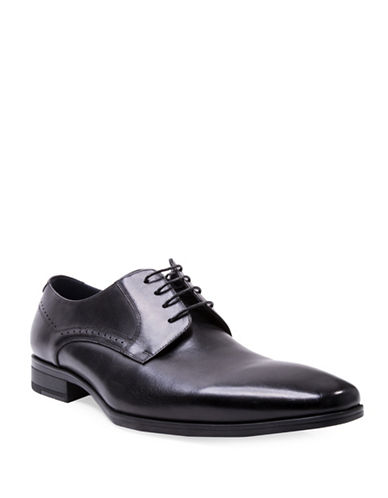 Steve Madden Fendur Brogued Leather Derby Shoes-BLACK-10