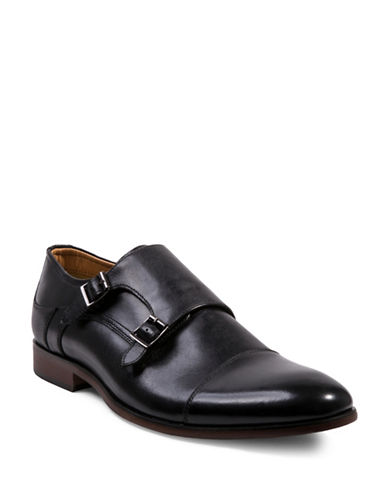 Steve Madden Hayward Double Monk Strap Leather Shoes-BLACK-13