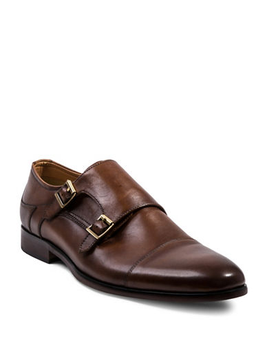 Steve Madden Hayward Double Monk Strap Leather Shoes-BROWN-10