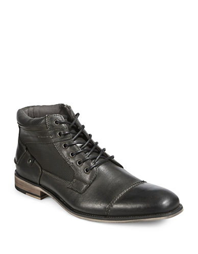 Steve Madden Jensunn Leather Ankle Boots-DARK GREY-8.5