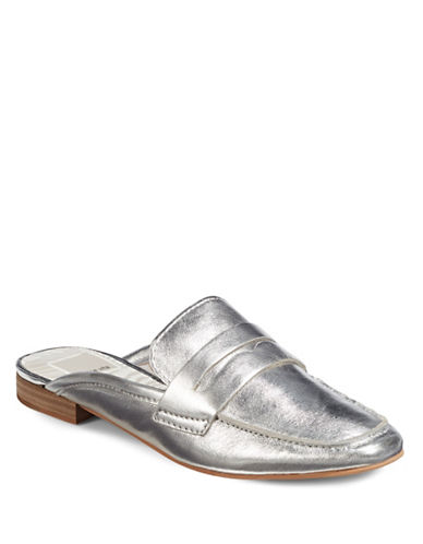 Dolce Vita Cybil Leather Slip-On Loafers-SILVER-9