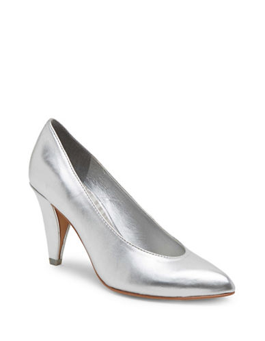 Dolce Vita Metallic Leather Pumps-SILVER-7