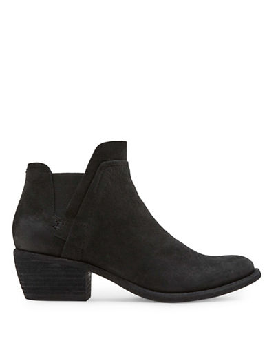 Dolce Vita Zabi Stack Block Heel Leather Booties-BLACK-8.5