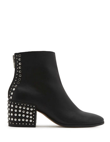 Dolce Vita Studded Leather Ankle Boots-BLACK-6.5