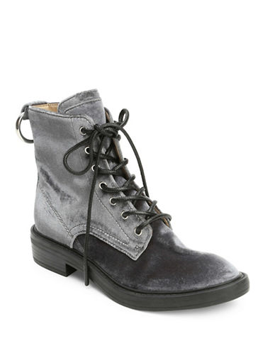 Dolce Vita Bardot Suede Lace-Up Bootie-CHARCOAL-9