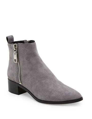 Dolce Vita Marra Side Zip Leather Booties-SMOKE-7.5