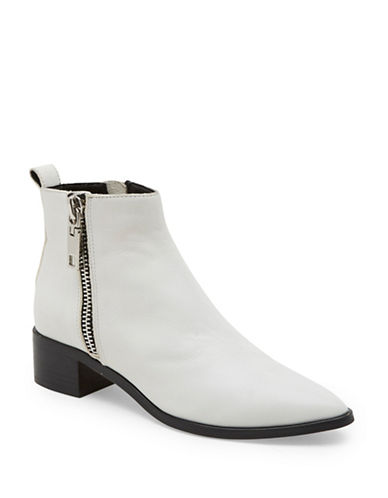 Dolce Vita Marra Side Zip Leather Booties-WHITE-7.5