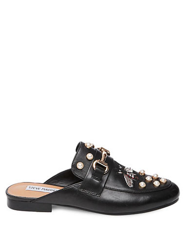 Steve Madden Embroidered Leather Mules-BLACK-9.5