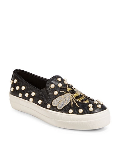 Steve Madden Embellished Bee Sneakers-BLACK-6.5