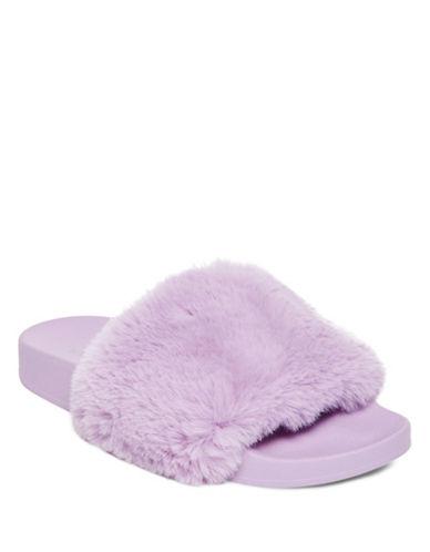 Steve Madden Softey Faux Fur Platform Slides-LAVENDER-6