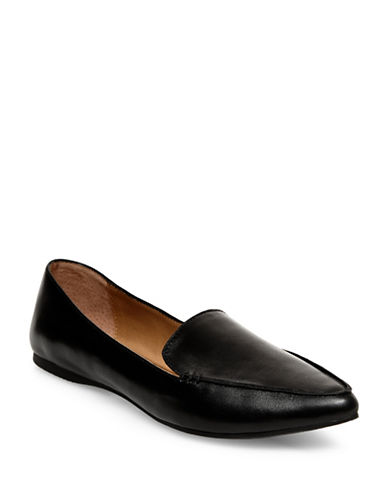 Steve Madden Feather Leather Loafers-BLACK-10
