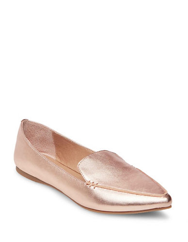 Steve Madden Feather Leather Loafers-ROSE GOLD-5.5
