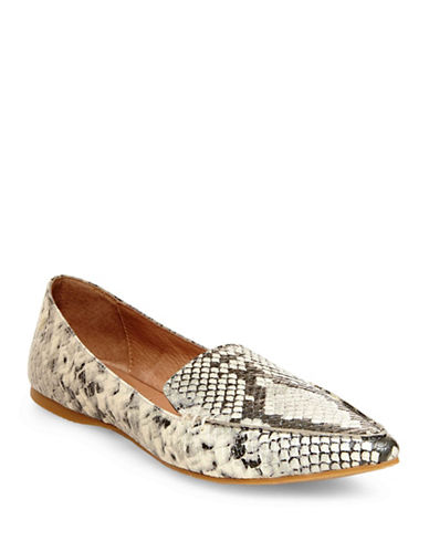Steve Madden Feather Leather Loafers-SNAKE-9.5