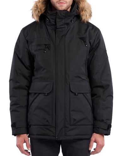 Noize Brody Mid-Length Fill Parka with Faux Fur Hood-BLACK-Medium