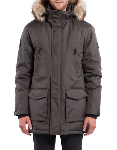 Noize Dax Faux Fur Trimmed Insulated Jacket-SLATE-XX-Large