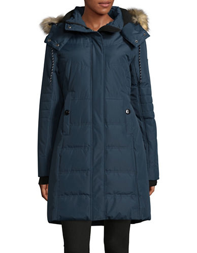 Noize Jenna Long Quilted Jacket-BLUE-X-Large