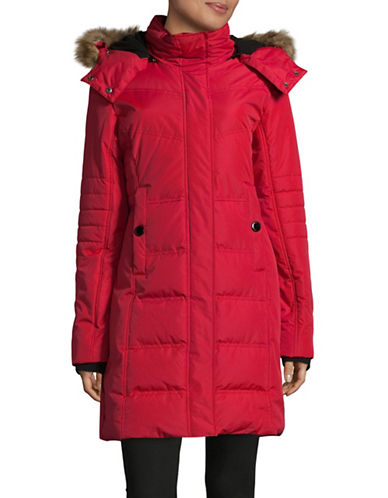 Noize Jenna Long Quilted Jacket-RED-Medium