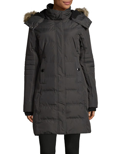 Noize Jenna Long Quilted Jacket-GREY-Small