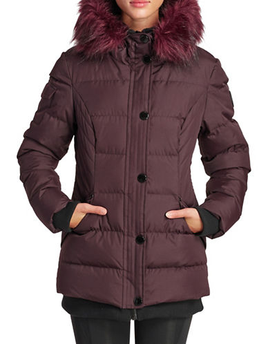 Noize Faux Fur Trim Puffer Bomber Jacket-DARK RED-Small