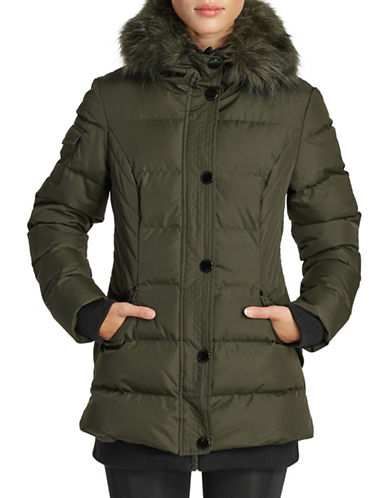 Noize Faux Fur Trim Puffer Bomber Jacket-GREEN-Small