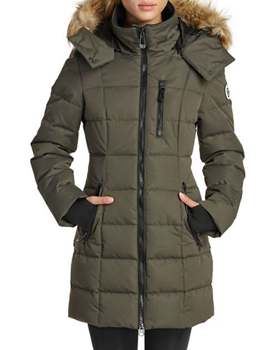 Noize Mid-Length Faux-Fur Quilted Parka-GREEN-Large