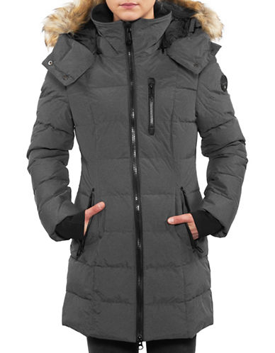 Noize Mid-Length Faux-Fur Quilted Parka-SLATE-Large