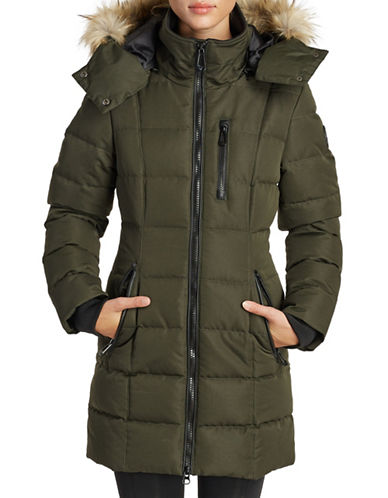 Noize Mid-Length Faux-Fur Quilted Parka-FOREST GREEN-Large