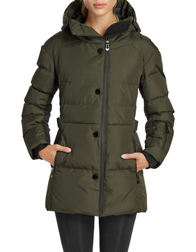 Noize Blocked Mid-Length Puffer Jacket-GREEN-Large