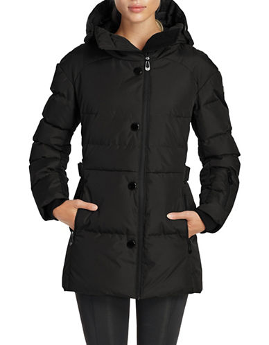 Noize Blocked Mid-Length Puffer Jacket-BLACK-Medium