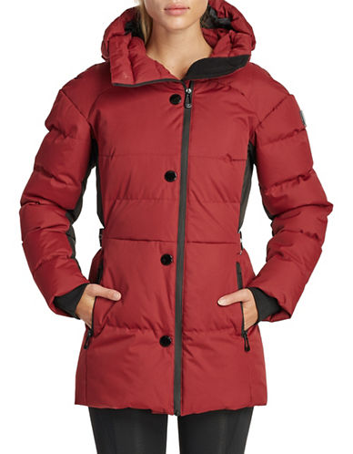 Noize Blocked Mid-Length Puffer Jacket-RED-X-Small