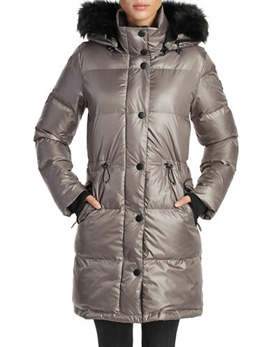 Noize Faux Fur-Trimmed Puffer Jacket-GREY-X-Large