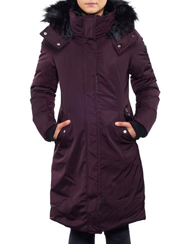 Noize Faux Fur Trim Puffer Coat-DARK RED-Medium