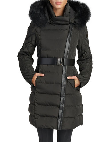 Noize Belted Faux Fur-Trimmed Quilted Jacket-BLACK-Large