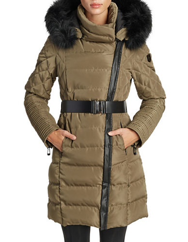 Noize Belted Faux Fur-Trimmed Quilted Jacket-COFFEE-X-Large
