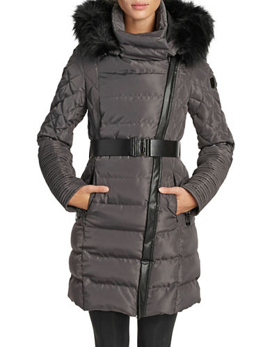 Noize Belted Faux Fur-Trimmed Quilted Jacket-SLATE-X-Large