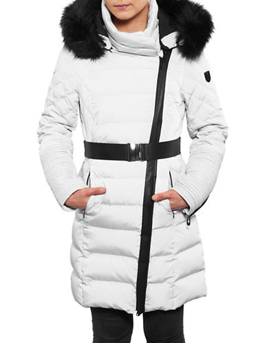 Noize Belted Faux Fur-Trimmed Quilted Jacket-LIGHT ASH-Large