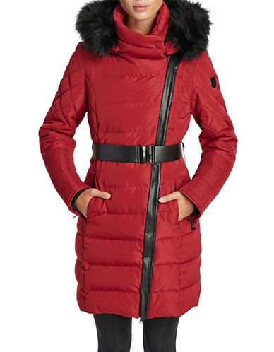 Noize Belted Faux Fur-Trimmed Quilted Jacket-RED-Large