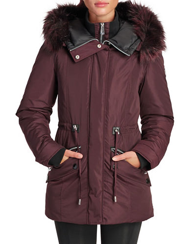 Noize Faux Fur Trim Puffer Jacket-WINE-Small
