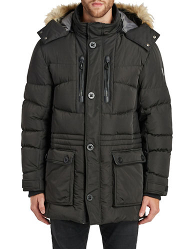 Noize Rod Mid-Length Parka with Faux Fur-BLACK-X-Large