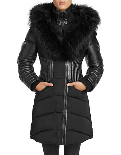 Noize Faux Fur and Quilted Panel Coat-BLACK-Large 89793268_BLACK_Large
