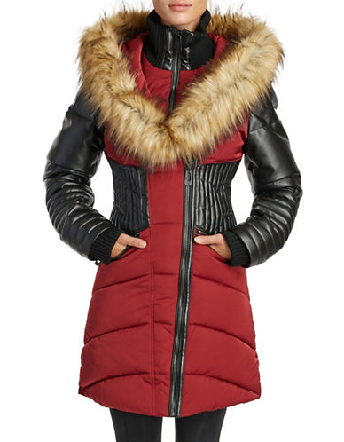 Noize Faux Fur and Quilted Panel Coat-RED-Large