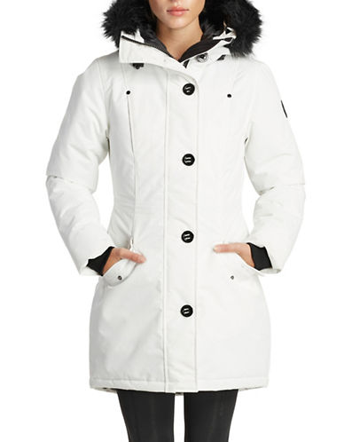 Noize Classic Faux Fur Trim Jacket-WHITE-Medium